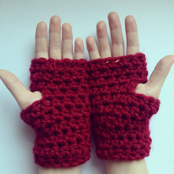 Chunky crochet fingerless gloves, wrist warmers, texting gloves