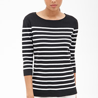 FOREVER 21 Striped Knit Sweater Black/White