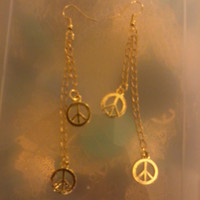 Bohemian Hippie Gold Peace Sign Dangle Earrings