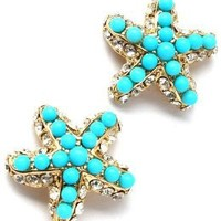 Fancy Sparkling Crystal and Faux Turquoise Beaded Starfish Gold Tone Stud Earrings for Teens and Women