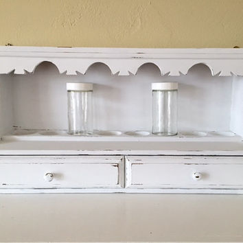 Vintage wood wall spice rack with drawers, distressed, white,