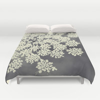 Black and White Queen Annes Lace Duvet Cover by Erin Johnson