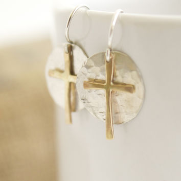 10k gold cross earrings