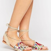 ASOS FEMME Suede Embroidered Tie Leg Flat Sandals at asos.com