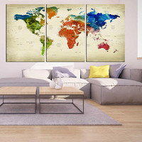 Push pin world tavel map wall art canvas 3 pieces World map print office decor, extra large wall art push pin world map with cities  hr75