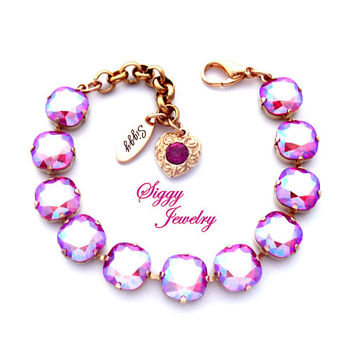 Swarovski® Crystal Bracelet, NEW Light Siam Shimmer, Iridescent Red Pink, 10mm Cushion Cut, Assorted Finishes, Filigree Heart Charm