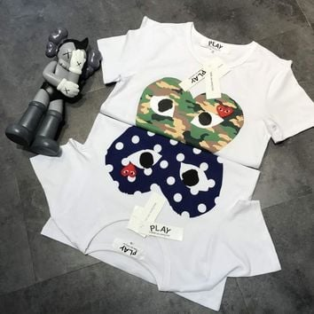 comme des garcons play unisex casual fashion camouflage love heart print embroidery couple short sleeve t shirt top tee