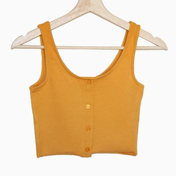 Button Accent Cropped Top - Mustard