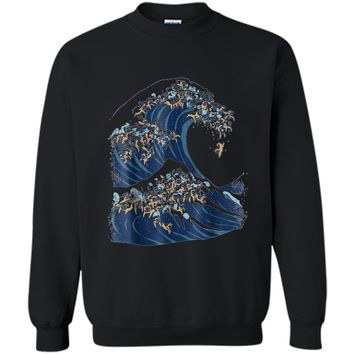 The Great Wave of Pugs Funny T-  by Huebucket Printed Crewneck Pullover Sweatshirt