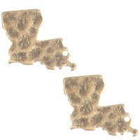 Gold Matte Finish Metal State Of Louisiana Earring