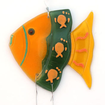 Fused Glass orang green fish  Windchime, Suncatcher, Summer Collection.