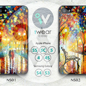 Night Rain Street iPhone 5 Case, iPhone 5/5s/5c Case, Oil Painting Rainning iPhone 5 Hard Cases Rubber Case,Cover Skin iPhone Case