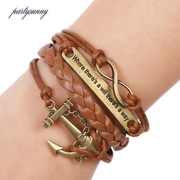PF Anchor 8 Letter PU Leather Bracelet Braided Bracelets & Bangles Punk Lobster Hook Cuff Jewelry Men's Bracelets Pulseras SL096