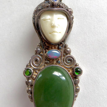 Vintage Sajen Goddess Brooch Moon Goddess Pendant Malachite Fire Opal Peridot Gemstone Pin