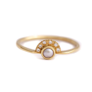 Pearl Engagement Ring with a Pave Diamonds Crown - 18k Solid Gold