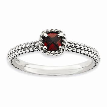 Sterling Silver Stackable Expressions Checker-cut Garnet Antiqued Ring