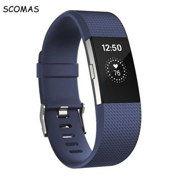 SCOMAS silicone smart bracelet strap for Fibit charge 2 replacement accessory for fitbit bands fitness tracker smart watchbands