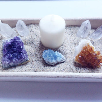 Crystal Garden- Sand Garden Zen Garden Quartz Collection Crystal Display Bohemian Decor Crystal Collection healing crystals and stones