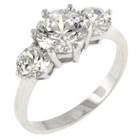 Classic Clear Triplet Engagement Ring, size : 08