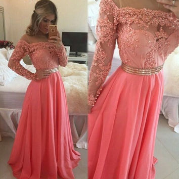 Long Sleeves Peach Pink Long Prom Dresses 2017 Sexy Boat Neckline Beaded Appliques A Line Evening Party Dresses Chiffon Gown