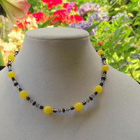 Short colorful stone necklace Yellow black blue Minimalist jewelry Multicolored necklace Casual summer necklace OOAK unique artisan jewelry