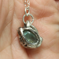 Tiny Dragon Eye pendant Fine Silver and Labradorite Hand sculpted fantasy jewelry