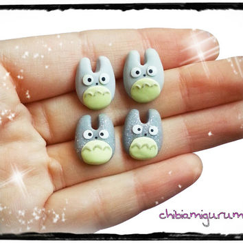 Totoro earrings chibi in polymer clay inspired in Studio Ghibli movie. You can choose surgical steel