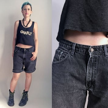"90s clothes/ Vintage 1990's Levi's faded black jean shorts, 34"" waist"