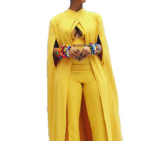 Sheer Yellow Three-Piece Formal Evening Wear