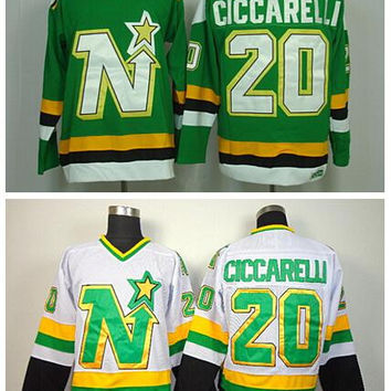 Throwback 20 Dino Ciccarelli Jersey Dallas Stars Retro Ice Hockey Jerseys For Sport Fans All Stitched Team Color Green White