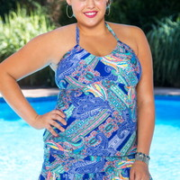 Plus Size Swimwear Kenneth Cole Separates Paisley Intuition Tankini Top