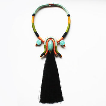 BALI - Statement Necklace - Extra Long Tassel Necklace - Rope Necklace - Summer Necklace - Turquoise Necklace - Maxi Necklace - Turquoise