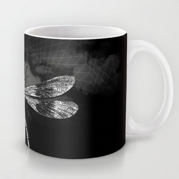 DRAGONFLY II Mug by Pia Schneider [atelier COLOUR-VISION] #art #dragonfly #vintage #mug #home #blackandwhite