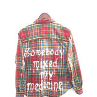 "Pretty Reckless Shirt in Multicolor Plaid Flannel: ""Somebody mixed my medicine."""