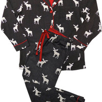 PJ SALVAGE MOOSE CHARCOAL FLANNEL PJ SET