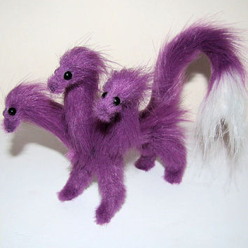 Hydra dragon posable purple fantasy pet plush animal miniature doll lucky charm present handmade toy Jerseydays