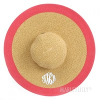 Monogrammed Wide Natural Outline Hat with Color Trim | Marleylilly