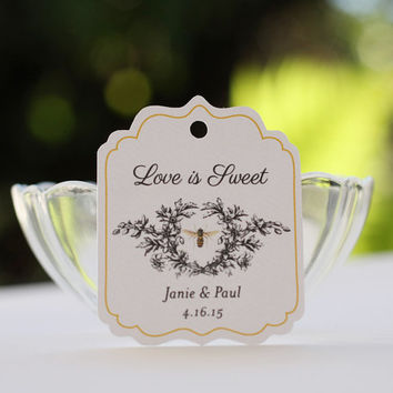 Wedding Favor Honey Tags, Personalized Gift Tags with Vintage Bee, Labels for Honey - Set of 20