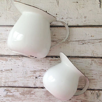 Antique White Enamelware Pitchers Set of 2 Farmhouse Shabby Chic Decor - Ca. 1960's