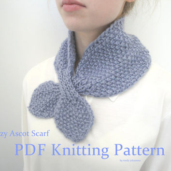 Cozy Ascot Scarf, PDF Knitting Pattern, Quick & Easy, Chunky Yarn