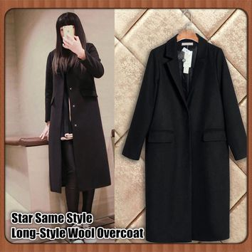Star Same Style,Women Thicken Long-Style Wool Overcoat,High-grade Double-sided Woolen Coat,Big Collar,Big Yards,Slim Fit Outwear