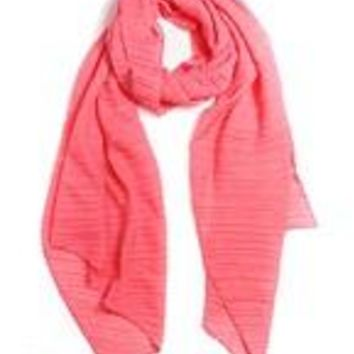 Soft Pleated Coral Scarf