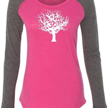 Womens Yoga T-shirt White Tree of Life Preppy Patch Elbow Tee