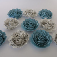 Light Blue and Sheet Music Roses, set 10 paper flowers Band teacher Gift Idea Musical ceremony party decorations wall hanging table decor 3""