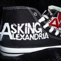 hand painted by granny grogs Asking Alexandria canvas high top boots