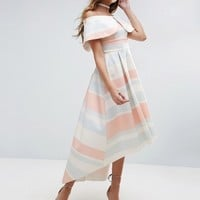 ASOS Pastel Stripe Deep Fold Debutante Dress at asos.com