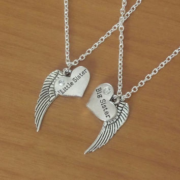 ON SALE set of 2 Necklaces, Big sister and little sister necklace, Angel wing necklaces, silver necklaces, Valentine Gift