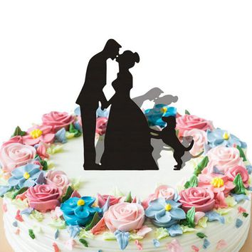 New Kissing Lovers With Dog Acrylic Cake Topper Wedding Event Party Supplies Cake Card Birthday Party Decoraton 6za219