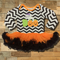 "Halloween Tutu Onesuit, Chevron with  ""Boo Applique"""