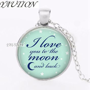 YAUTION 2018 I love you to the moon and back Necklace valentine gift jewelry moon pendant necklace best friend gift idea